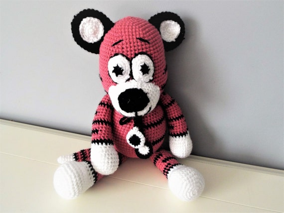 Pink tiger Crochet Tiger Amigurmi Boys Girls Baby shower Gift ideas Interior decorations Home decor Soft animals Crochet tiger doll Toddler