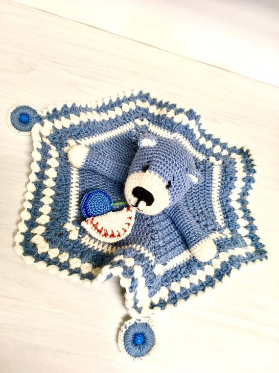 Crochet Teddy bear amigurumi blue teddy bear with small blanket and wooden teethers baby shower gift idea home decor nursery decor boys cute