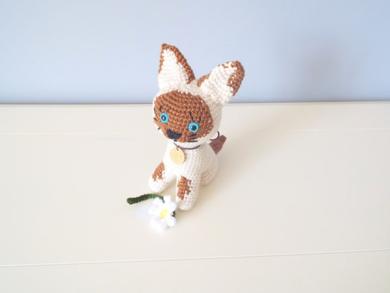 Crochet kitten toy doll Cat puppy Stuffed animals Amigurumi puppy cat Kids toys Baby toys Gift ideas Home decor Crochet dolls White kitten