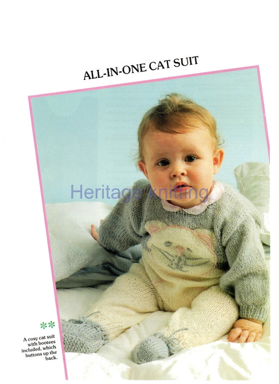 b3a74e702572 baby all in one cat suit dk knitting pattern 99p pdf
