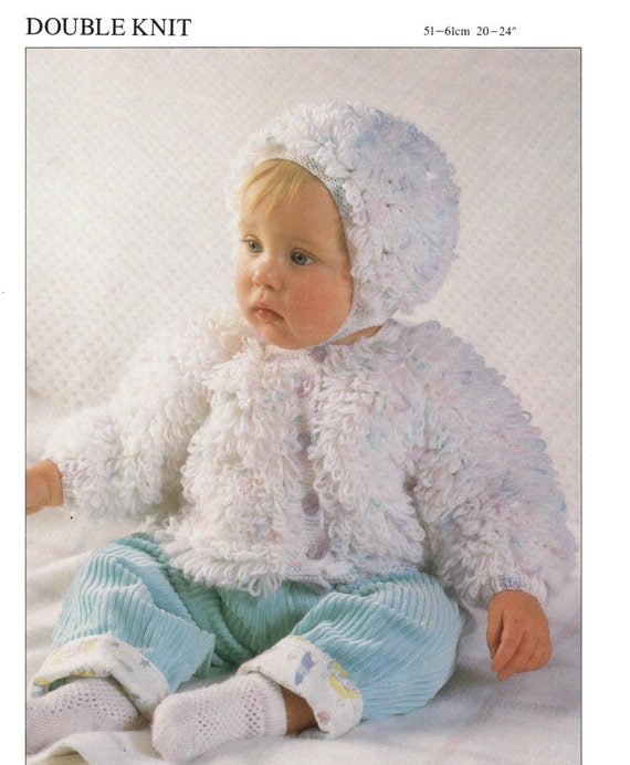 Baby Loopy Jacket And Bonnet Dk Knitting Pattern 99p Pdf