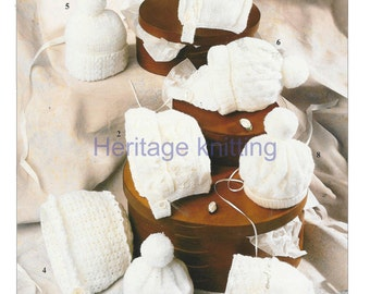 eight designs baby hats bonnets vintage knitting and crochet pattern PDF instant download 99p