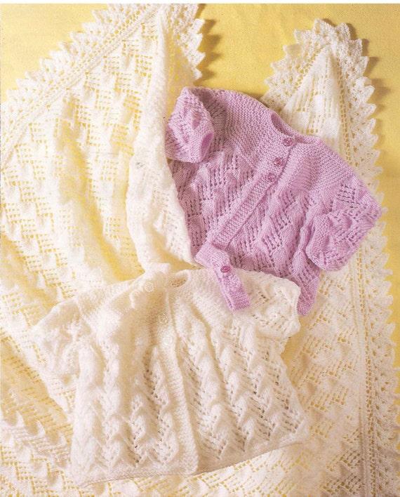 895c6d408125 Baby girls shawl cardigan and headband dk and 4 ply knitting
