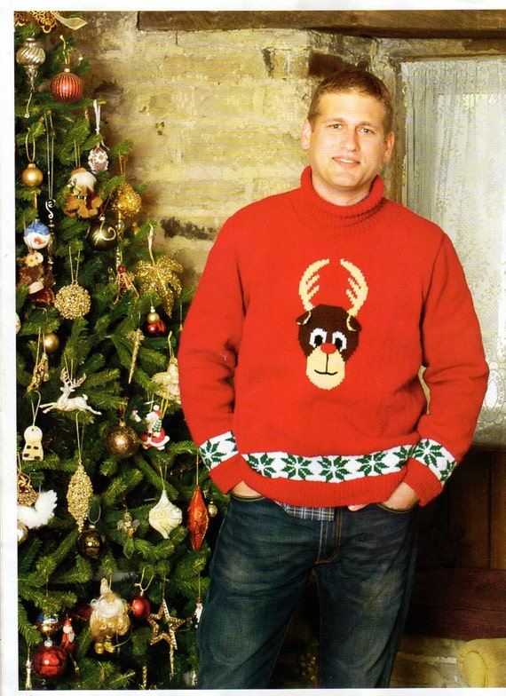 Mens Reindeer Christmas Jumper Dk Knitting Pattern 99p Pdf Etsy