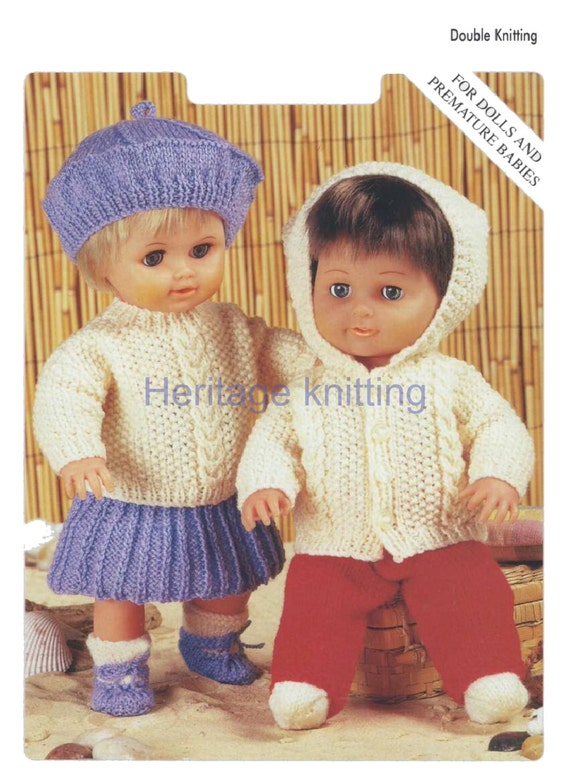 vintage doll clothes 4 ply knitting pattern 99p