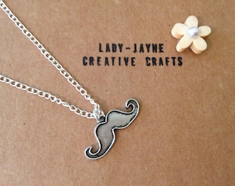 "Moustache necklace. Silver plated chain. Choose from 16"" or 18"". Quirky jewellery."