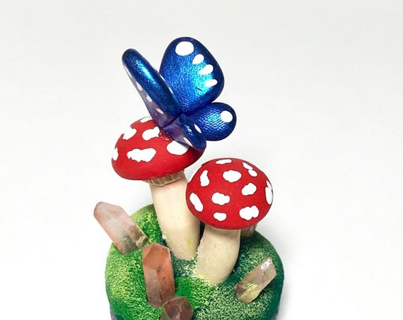 Mushroom Sculpture | Fairy Garden | Moss Covered Stone | Moss and Crystals | Mushroom Island | Fantasy Garden | Tiny Woodland World