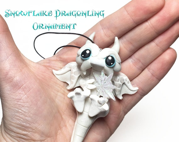 Dragon Snowflake Ornament | White Dragonling Ornament with Snowflake | Micro Gem Dragonling Ornament with Snowflake | Christmas Ornament