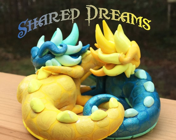 "Polymer Dragon Sculpture- Custom ""Shared Dreams"" Design- Choose Your Colors"