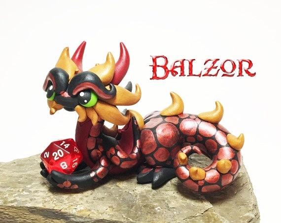 DnD Dice Dragon | Dice Dragon Polymer Clay Dragon Dice Holder- Black, Red, and Gold Dragonling: Balzor