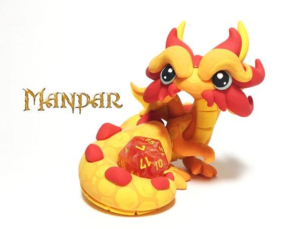 Polymer Clay Dragon Dice Holder- Orange, Yellow-Orange, and Red-Orange Dragonling: Mandar