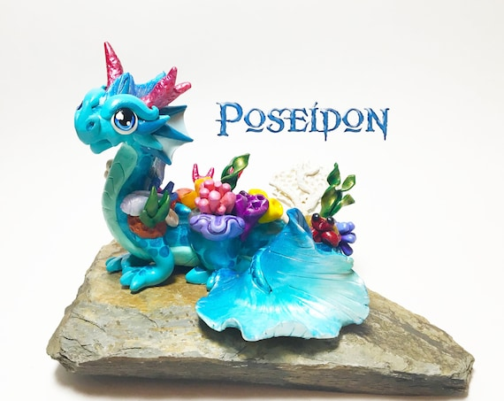 Polymer Clay Dragon Figurine: Coral Reef Elder Guardian Dragonling Sculpture- Poseidon