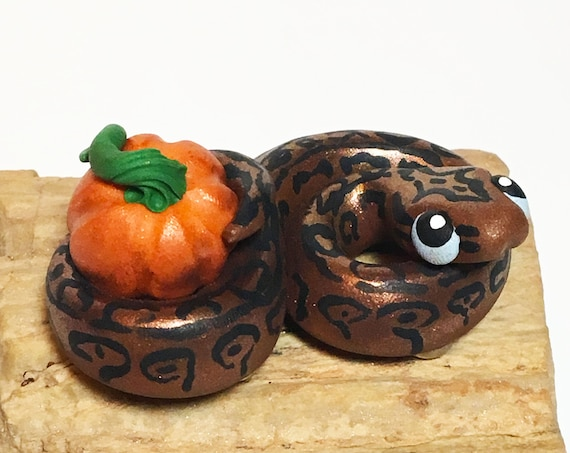 Snake Magnet | Ball Python | Black and Brown Shimmer with Pumpkin | Polymer Clay Snake Figurine | Halloween Snake | Snake Sculpture