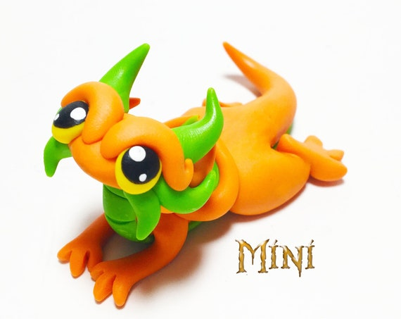 Mini Dragon Sculpture: Light Orange and Lime Green Mini Polymer Dragonling Figurine
