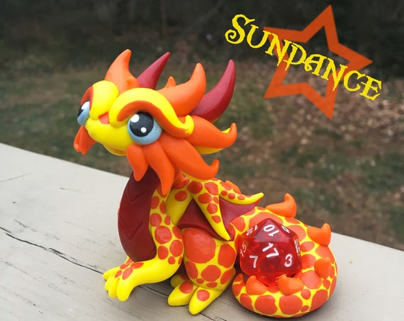 Polymer Dragon Dice Holder-Yellow, Orange and Red Dragonling: Sundance