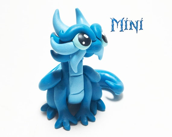 Mini Clay Dragon Sculpture: Turquoise and Light Blue Mini Baby Dragon Figurine