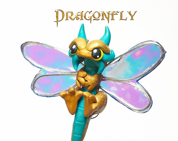 Polymer Clay Dragonfly Ornament Dragon Ornament- Gold and Pearl Teal Dragonfly