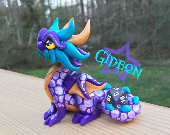 Polymer Clay Dragon Dice Holder- Purple, Gold, and Peacock Dragonling: Gideon