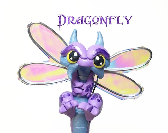 Polymer Clay Dragonfly Ornament Dragon Ornament- Lavender Purple and Light Pearl Blue Dragonfly