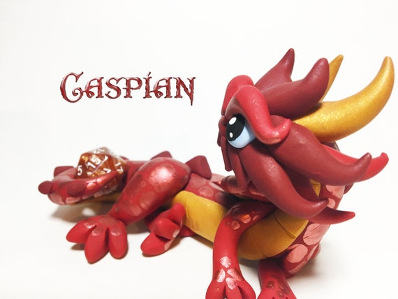 Polymer Dragon Dice Holder- Red, Gold, and Burgundy Dragonling: Caspian