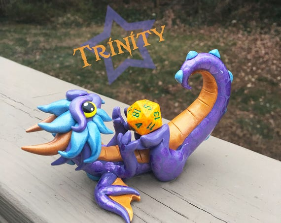Polymer Clay Dragon Dice Holder- Muted Purple, Muted Gold, and Light Blue Pearl Dragonling: Trinity