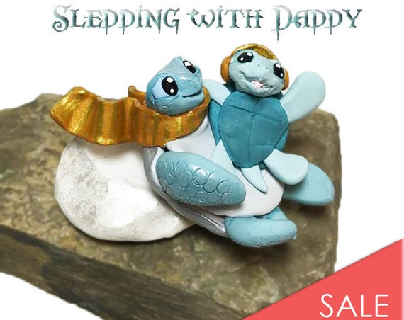 Sledding Sea Turtles Sculpture | Snow Turtles Keepsake | Father and Son Keepsake Figurine | Sledding with Daddy Turtles