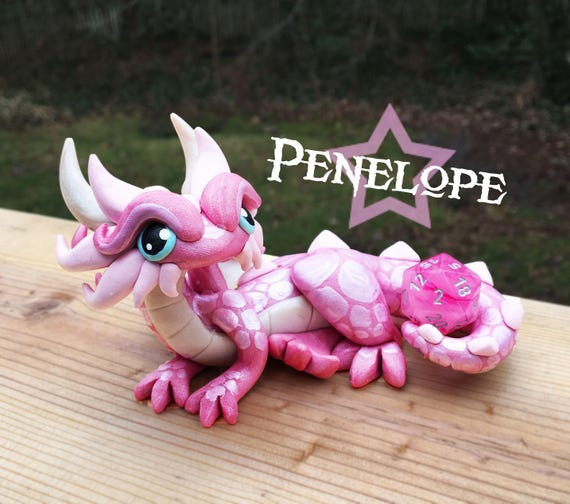 Polymer Dragon Dice Holder- Pink Pearl, Pearl, and Light Pink: Penelope