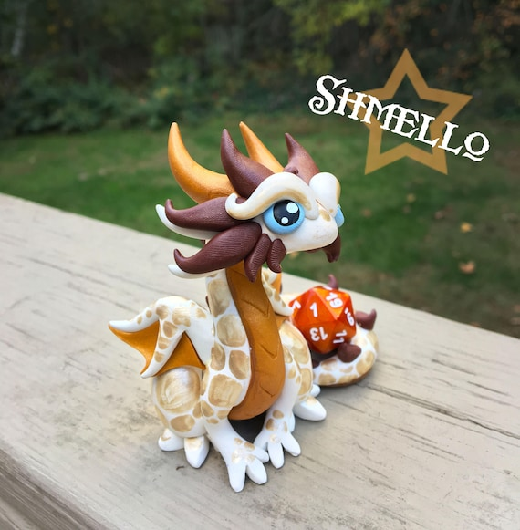 White, Chocolate, and Gold Dragonling: Shmello