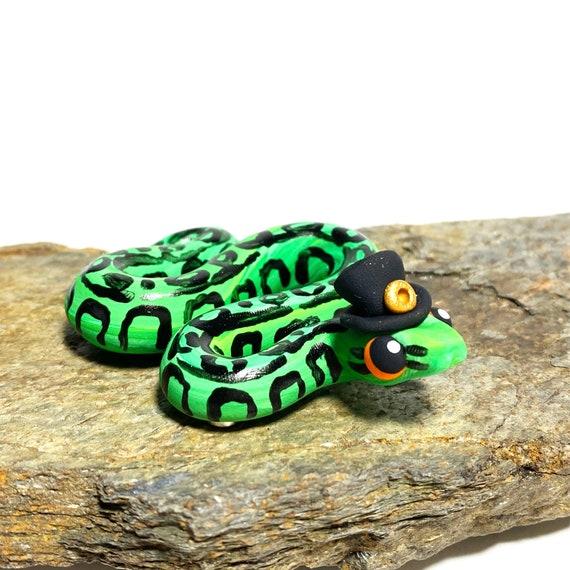 Green Snake Magnet | St. Patrick's Day Snake | Snake Wearing Hat | Snake Magnet | Irish Snake | Ball Python Magnet | Snek