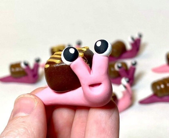 Gourmet Chocolate Snail   Pink Snail with Gold-Striped Chocolate   Valentine's Day Snail   Chocolate Snail