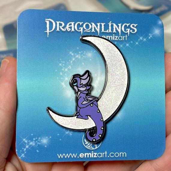 Moon Dragon Pin | Hard Enamel Dragon Pin | Enamel Moon Dragonling Pin