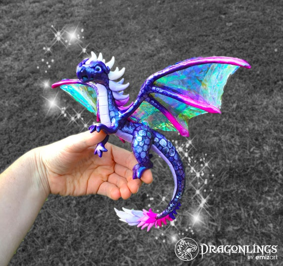 Polymer Clay Dragon- Large Western Style Dragonling: Purple with Iridescent Wings     Kundara the Huntress