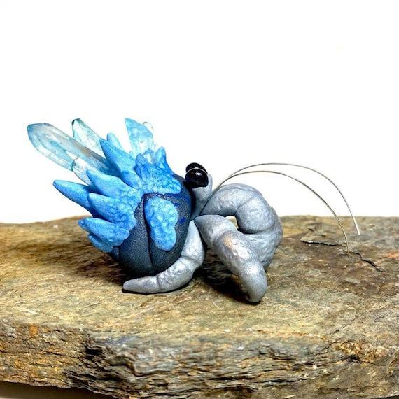 Crystal Hermit Crab Sculpture   Polymer Clay Hermit Crab   Crab Figurine   Crystal Crab