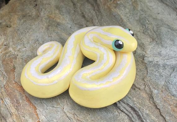 Albino Python Magnet | Ball Python | Banana Snake | Boa Magnet | Polymer Clay Snake Figurine| Cute Snake Sculpture | Danger Noodle