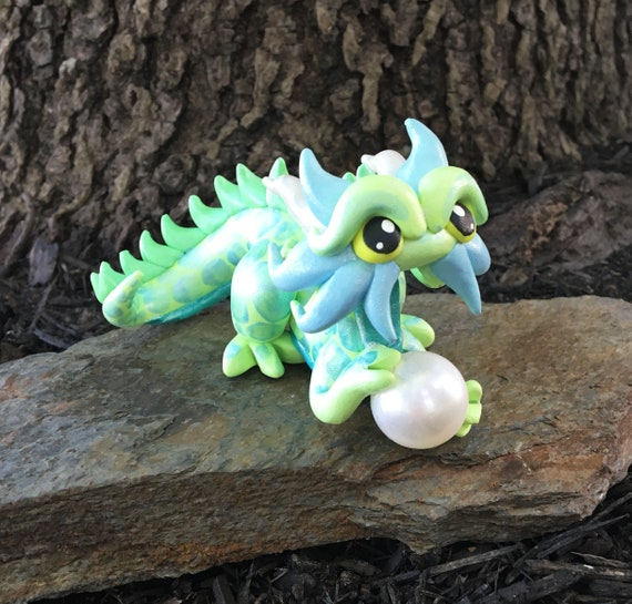 Polymer Clay Pearl Keeper Dragonling: Pastels