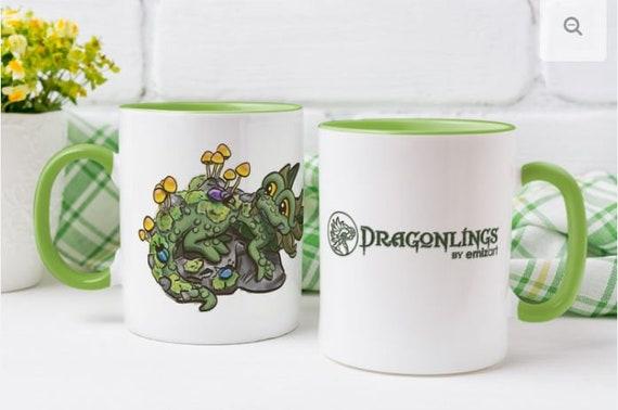 Dragon Mug | Dragonlings | Beetles and Mushrooms Mug | Green Dragon Mug