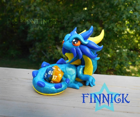 Polymer Clay Dragon Dice Holder-Teal, Cobalt Blue, and Yellow Dragonling: Finnick