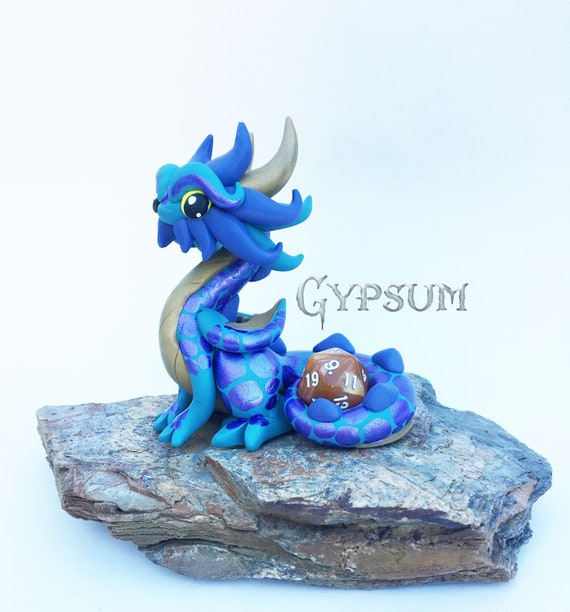 Polymer Dragon Dice Holder- Muted Teal, Muted Gold, and Muted Purple Dragonling: Gypsum