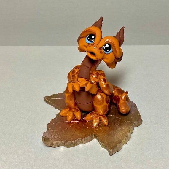 Polymer Clay Dragon | Copper and Brown Autumn Leaf Dragon | Fall Dragon Sculpture | Whimsical Decor