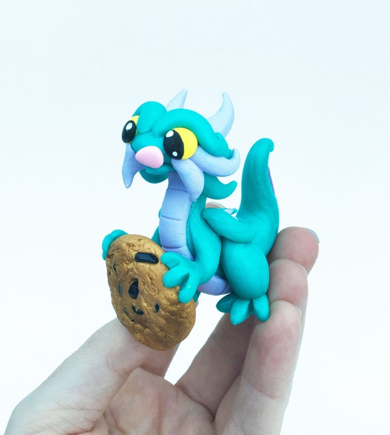 Polymer Clay Mini Dragon Sculpture- Teal Pearl and Lavender Chocolate Chip Cookie Thief Figurine