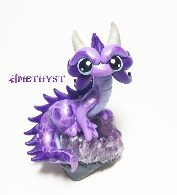 Amethyst Dragon: Mini Eastern Dragon Figurine- Purple Dragonling Sculpture