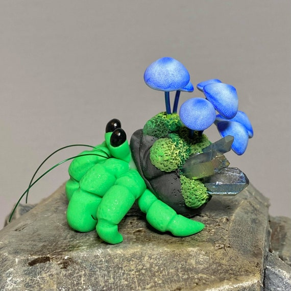 Polymer Clay Hermit Crab | Mushroom and Crystal Hermit Crab | Mossy Stone Sculpture | Fairy Garden Creatures