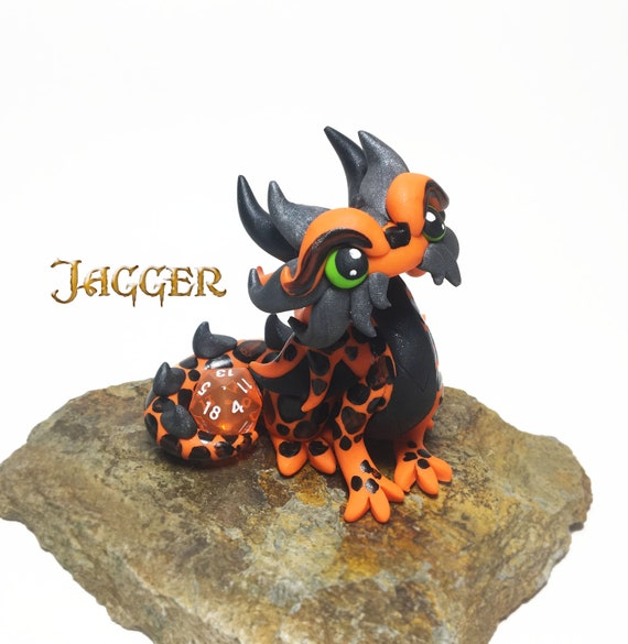 Polymer Dragon Dice Holder- Orange, Black, and Gunmetal Dragonling: Jagger | DnD Dice Holder | Dragon Statue