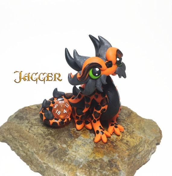 Polymer Dragon Dice Holder- Orange, Black, and Gunmetal Dragonling: Jagger   DnD Dice Holder   Dragon Statue