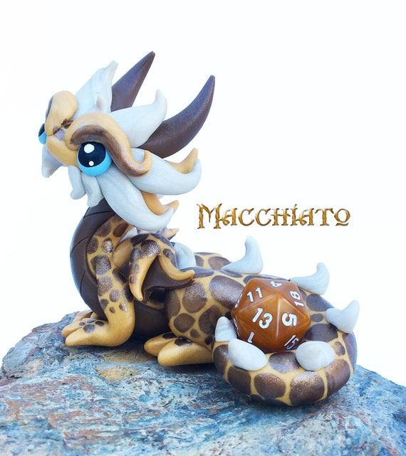 Polymer Clay Dragon Dice Holder Figurine- Gold, Hazelnut, and White Pearl Dragonling Sculpture: Macchiato