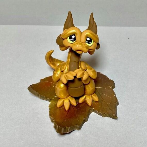 Polymer Clay Dragon | Gold and Brown Autumn Leaf Dragon | Fall Dragon Sculpture | Autumn Decor