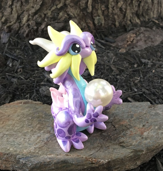 Polymer Clay Pearl Keeper Dragonling: Pastels (With Hovering Pearl!)
