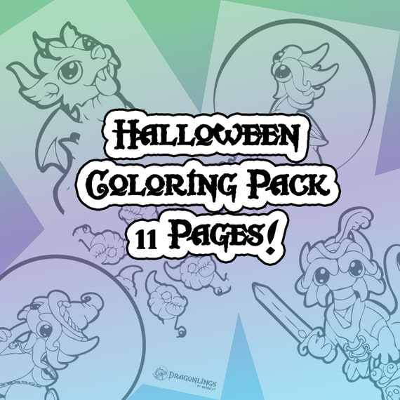 11 Halloween Coloring Pages featuring Dragonlings