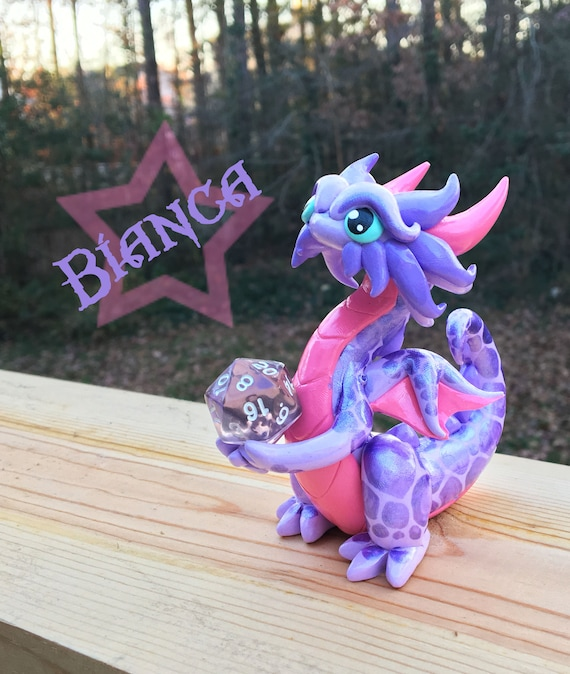 Polymer Clay Dragon Dice Holder- Lavender, Pink, and Light Purple: Bianca
