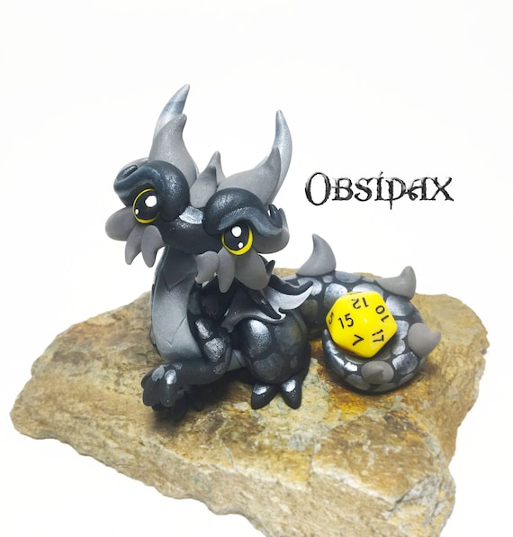 Polymer Clay Dragon Dice Holder- Black, Silver, and Gray Dragonling: Obsidax